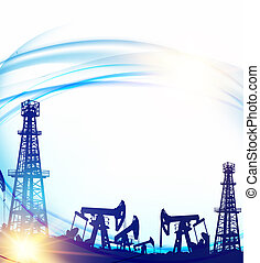 Oil field with derricks and pumpd over blue sky background.