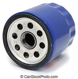 Auto oil filter over white background.