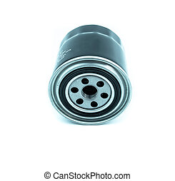 Oil filter for car on white background