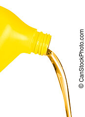 Oil flowing from container - A plastic container of engine...