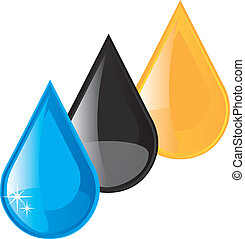 oil, fuel and water raindrops vector illustration over white background