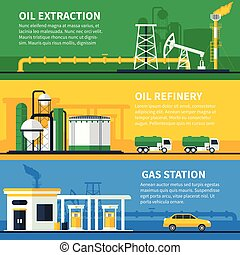 Oil Gas Banners Set - Three horizontal oil and gas industry...