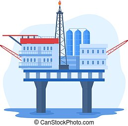 Oil gas industry vector illustration, cartoon flat urban landscape with water rig drilling platform, offshore station isolated on white