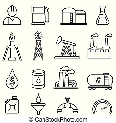 Oil, gas, petroleum, energy, drilling line icons