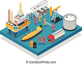 Oil Gas Platform Isometric