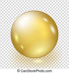 Oil gold bubble isolated on transparent background