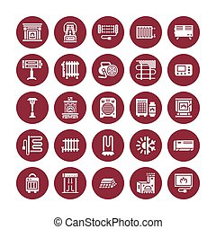 Oil heater, fireplace, convector, panel column radiator and other house heating appliances glyph icons. Home warming pictogram. Equipment store signs. Solid silhouette pixel perfect 64x64