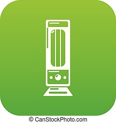 Oil heater icon green vector