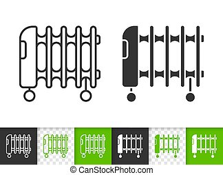 Oil heater black linear and silhouette icons. Thin line sign of radiator. Heater On Wheels outline pictogram isolated on white, transparent background. Vector Icon shape. Heater simple symbol closeup