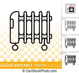 Oil heater thin line icon. Outline sign of radiator. Heater on wheels linear pictogram with different stroke width. Simple vector symbol transparent background Heater editable stroke icon without fill