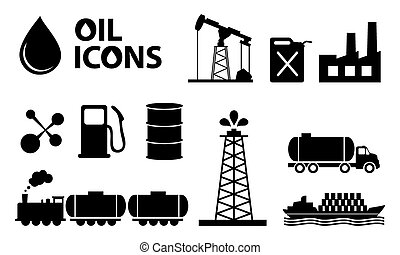 oil icons in black color