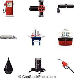 Oil icons set, cartoon style