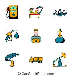 Oil icons set, cartoon style - Oil icons set. Cartoon...
