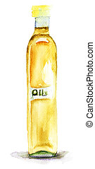 Oil in a glass bottle
