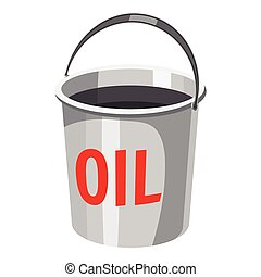 Oil in bucket icon, cartoon style