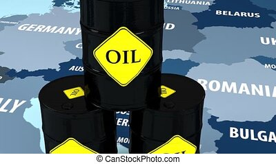 Oil in Europe. Barrel of oil in the stock market. Market...