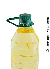 Oil in plastic bottle isolated white background.