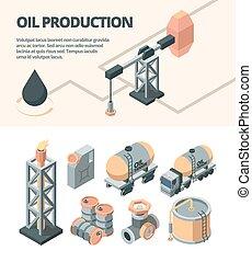 Oil industrial isometric set. Derrick fire truck platform oil tank fuel valve tank storing raw.