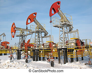 Industrial construction and mechanism. Work of oil industry.