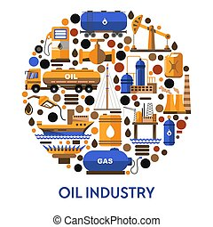 Oil industry banner with icons set in circle and text - Oil ...