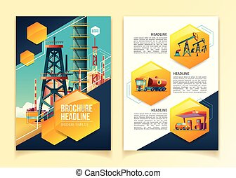 Oil industry brochure template vector illustration for oil refinery, gas producing company or petroleum refining plant
