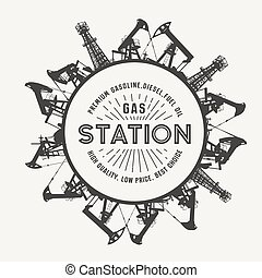 Oil industry circle frame isolated over white. Gas station...