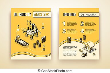 Oil industry company brochure vector template - Oil...
