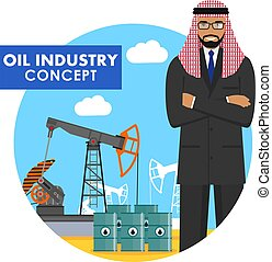 Oil industry concept. Detailed illustration of arab muslim businessman on background with oil pump and barrels with fuel flat style on white background. Vector illustration.