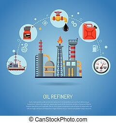 Oil industry Concept with Flat Icons extraction Refinery and...