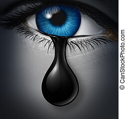 Oil industry distress concept as a human tear drop of crude petroleum spilling down on a human face as a symbol for declining prices in fossil energy due to oversupply and overproduction,