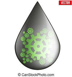 oil industry drop symbol with gears cogs - oil industry drop...