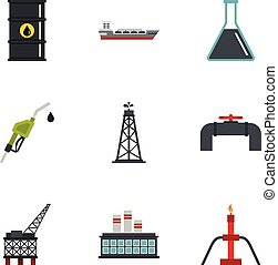 Oil industry extraction icons set