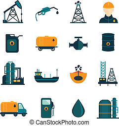 Oil Industry Flat Icons - Oil industry drilling refining...