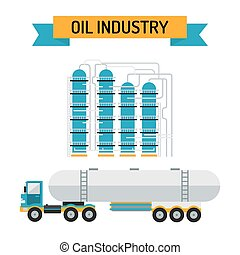 Oil industry flat style vector symbols
