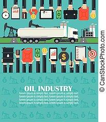 Oil Industry flat with gasoline tanker car.Vector illustration