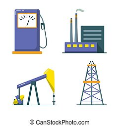 Oil industry icon set in flat style