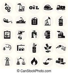 Oil industry icons on circle white background