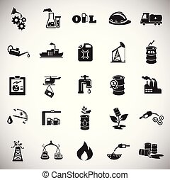 Oil industry icons on color white background