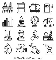 Oil Industry Icons Set on White Background. Line Style Vector