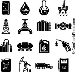 Oil industry icons set, simple style