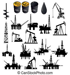Oil industry - Oil facilities. Black-and-white illustration...