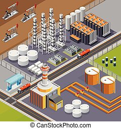 Oil Industry Isometric Composition