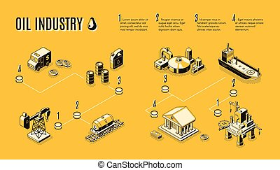Oil industry production path isometric vector