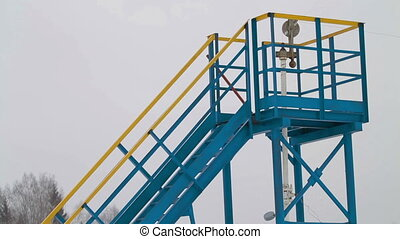 Oil industry pump jacks winter russia Close up