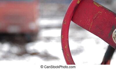 Oil industry pump jacks winter russia