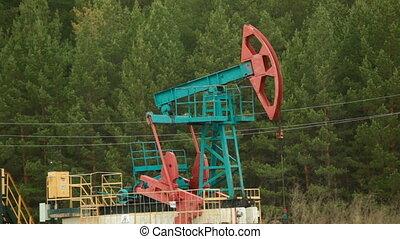 Oil Industry Pumpjack in forest - Oil Industry Pump jacks in...
