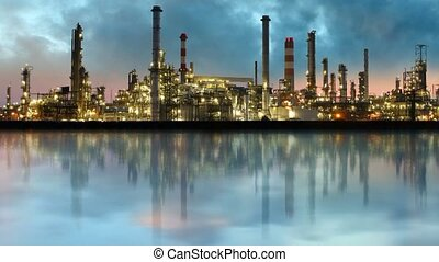 Oil industry - refinery, time lapse