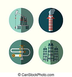 oil industry set icons