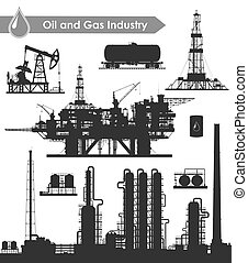 Oil industry set - Set of oil and gas industry silhouettes....
