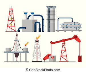 Oil industry set of icons